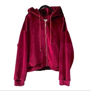 Molly Bracken Burgundy Velour Velvet Jacket 18